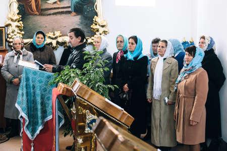 VOYUTYN, UKRAINE - 14 October 2017: Сhurch choir during the religious celebration Pokrov