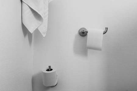 Towel and toilet roll on holder