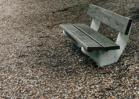 Wood bench in park at Paris, France Stock Photo