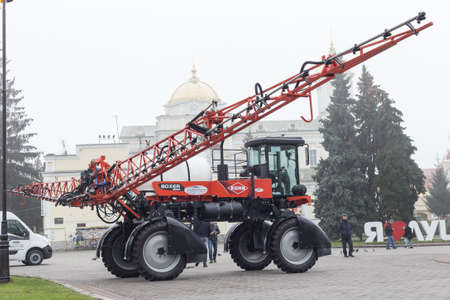 Lutsk, Volyn / Ukraine - November 18 2017: Agricultural machinery in agricultural fair