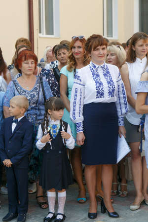 Lutsk, Volyn  Ukraine - September 01 2018: The pupil and parents during the ceremony of opening the new school