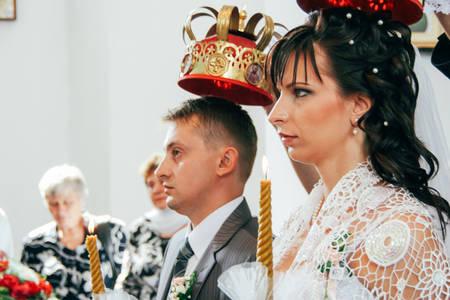 Lutsk, Volyn  Ukraine - August 30 2009: Wedding in Orthodox church Editorial