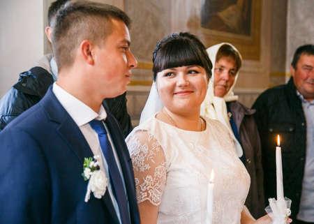 Lutsk, Volyn  Ukraine - September 30 2018: Wedding in Orthodox church