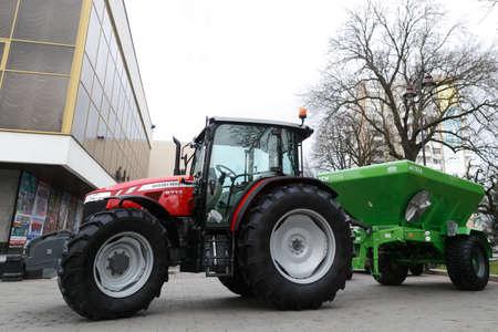 Lutsk, Volyn  Ukraine - November 16 2018: Agricultural machinery in agricultural fair Redakční