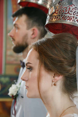 Cuman, Volyn  Ukraine - April 29 2018: Wedding in Orthodox church. Shallow depth of field. Sajtókép