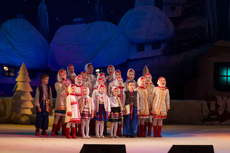 Lutsk, Volyn / Ukraine - January 20 2016: Children choir performs in the theater at a charity concert Christmas carol to raise funds for Ukrainian Army Editorial
