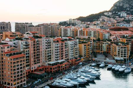 Monte Carlo, Monaco - February 21 2012: Panoramic view of Port de Fontvieille