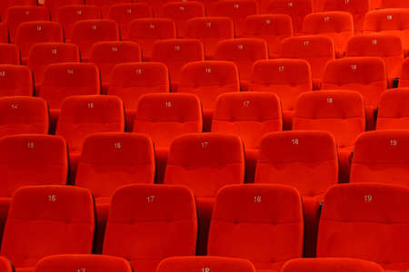 Comfortable red seats with numbers in empty cinema