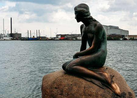 The famous Little Mermaid statue on the stone in Copenhagen, Denmark