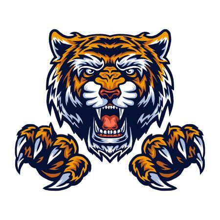 Illustrazione vettoriale di tigre e artigli Vettoriali