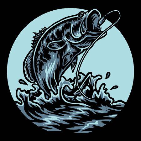 L'illustrazione della pesca del basso che utilizza uno stile di disegno a mano è continuata con la colorazione digitale, questa è una combinazione di stile di disegno a mano e colore digitale