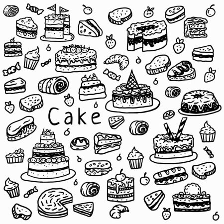 Illustration de gâteau à l'aide d'un style de dessin à la main