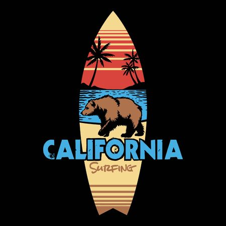 Hand drawing style with a california surfing use full colors Ilustração Vetorial