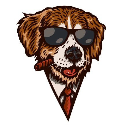 Dogs smoke illustrations using a hand drawing style continued with digital coloring, this is a combination of hand drawing style and digital color Illustration