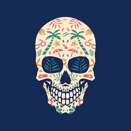 Beach skull, vector illustration