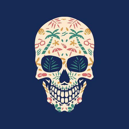 Crâne de plage, illustration vectorielle