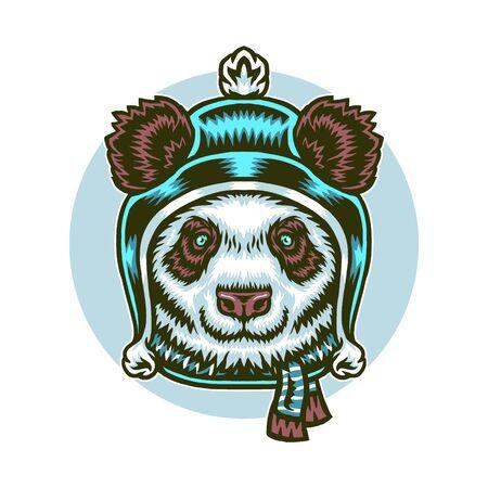Vector illustration of panda winter