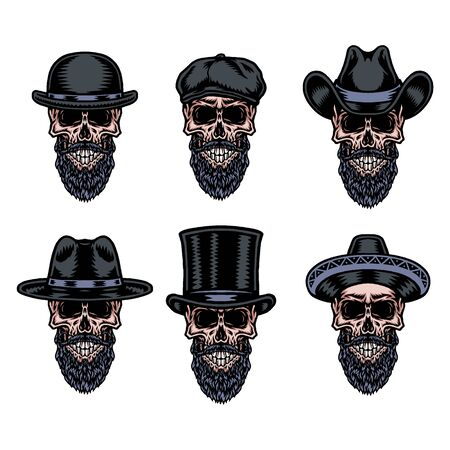Set of skull beard in hat, hand drawn line with digital color, vector illustration