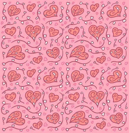 Valentine's day background with decorative hearts, hand drawn line with digital color, vector illustration