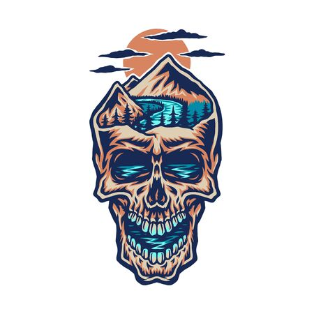 Mountain head skull, hand drawn line with digital color, vector illustration