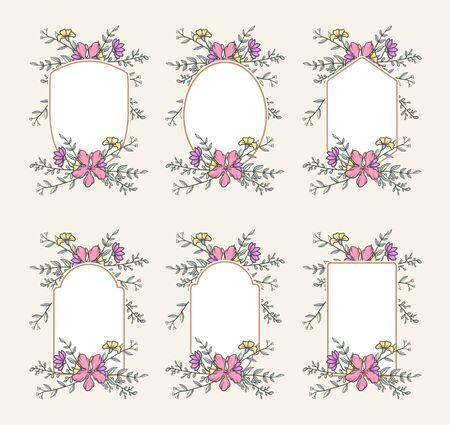 Floral frame collection, hand drawn line with digital color, vector illustration Иллюстрация
