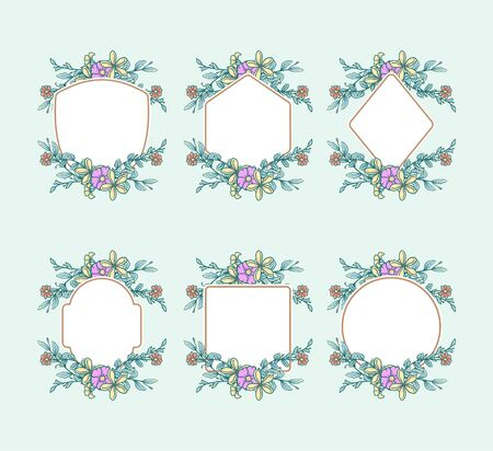 Set of frames with flowers, hand drawn line with digital color, vector illustration