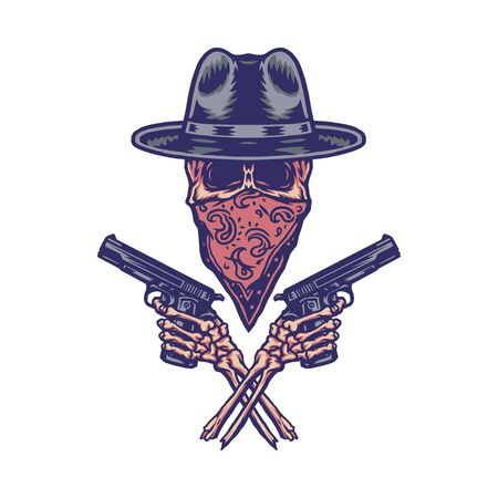 Bandit holding gun, hand drawn line with digital color, vector illustration Vecteurs