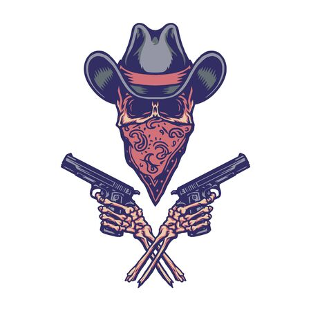 Bandit holding gun, hand drawn line with digital color, vector illustration