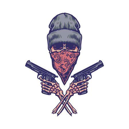 Bandit holding gun, hand drawn line with digital color, vector illustration