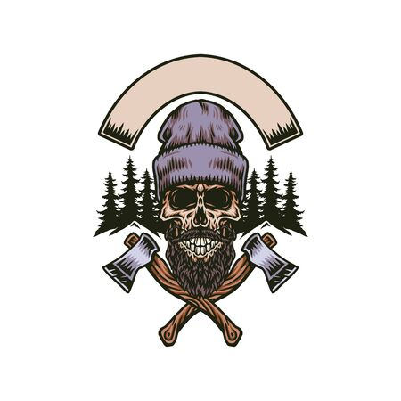 Lumberjack bearded skull with two axes, hand drawn line with digital color, vector illustration