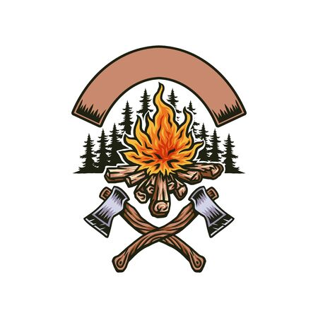 Bonfire with two axes, hand drawn line with digital color, vector illustration