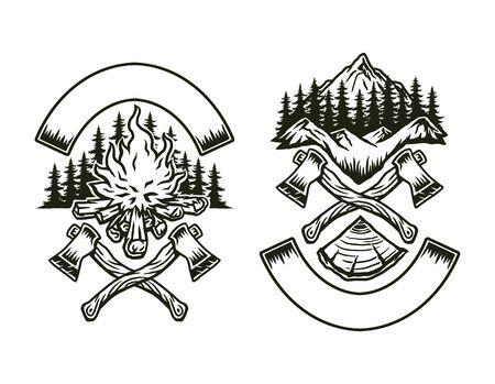 Design outdoor adventure, hand drawn line art vector illustration Ilustración de vector