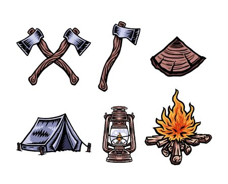Vector illustration of camping vacation objects set, hand drawn line with digital color, vector illustration