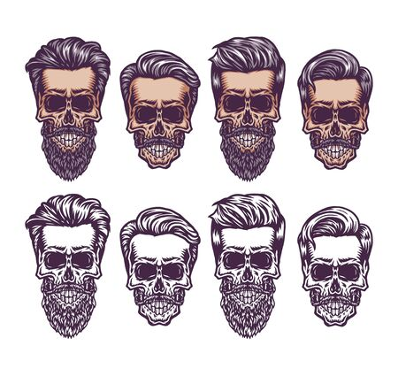 Vintage skull with hair style, hand drawn line with digital color, vector illustration