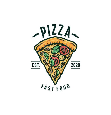 Pizza logo vector illustration, hand drawn line with digital color