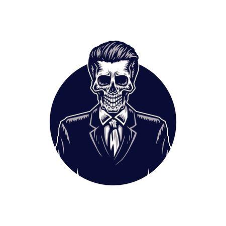 Skeleton in suit, hand drawn line with digital color, vector illustration