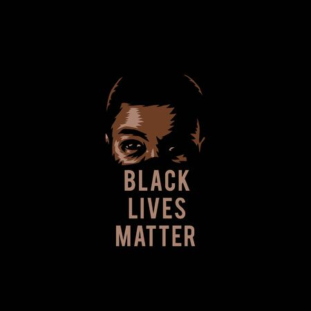 Vector illustration of black lives matter, isolated on black background