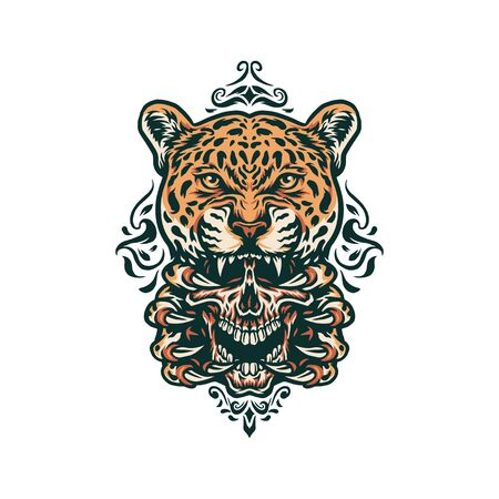 Jaguar and skull, hand drawn line with digital color, vector illustration
