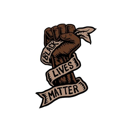 Vector illustration of black lives matter, hand drawn line with digital color Illustration