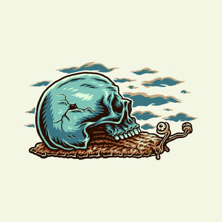 Vector illustration of snail skull, hand drawn line style with digital color