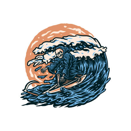 Vector illustration of grim reaper surfing, hand drawn line style with digital color