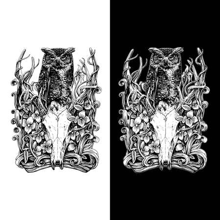 Vector drawing of owl above the deer skull, isolated on dark and bright background Vectores
