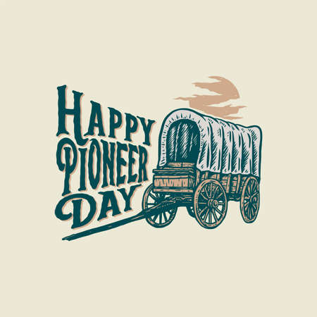 Vector illustration of Happy Pioneers Day, hand drawn line style with digital color