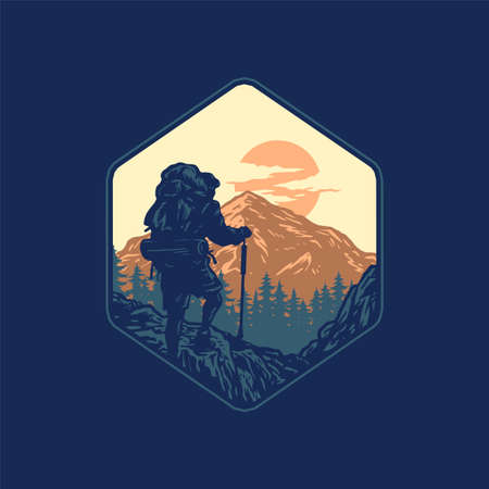 Hiking Adventure, hand drawn line style with digital color, vector illustration