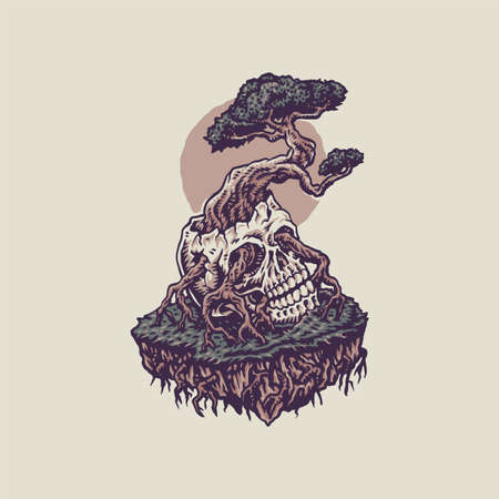 Bonsai growing from a human skull, hand drawn line style with digital color, vector illustration