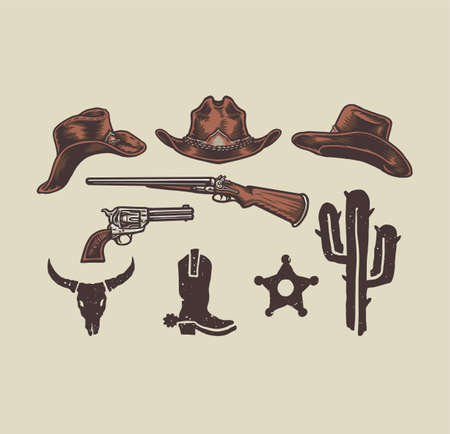Wild west cowboy objects, hand drawn line style with digital color, vector illustration Vetores