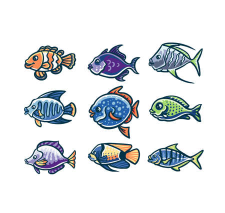 Set of fish cartoon, hand drawn line style with digital color, vector illustration