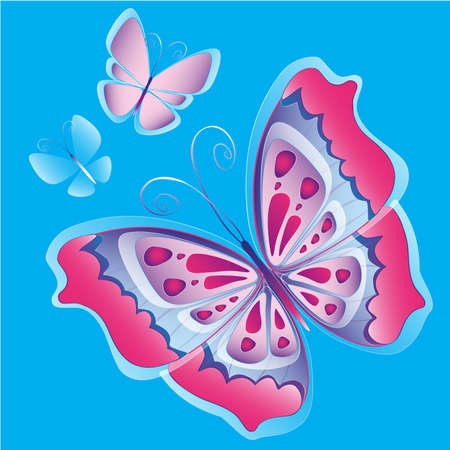 Set of three decorative butterflies  Suitable for collection   Иллюстрация