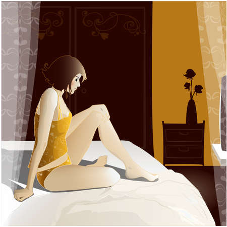 Young girl sitting on a bed in her room  It was dark, lit only the TV screen  Illustration
