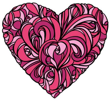 floral heart on white background Illustration